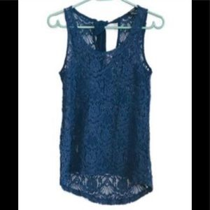 Forever 21 Blue Sheer Lace Tank Top